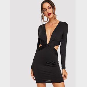 Twist Front V-Neck Bodycon Mini Dress Long Sleeve